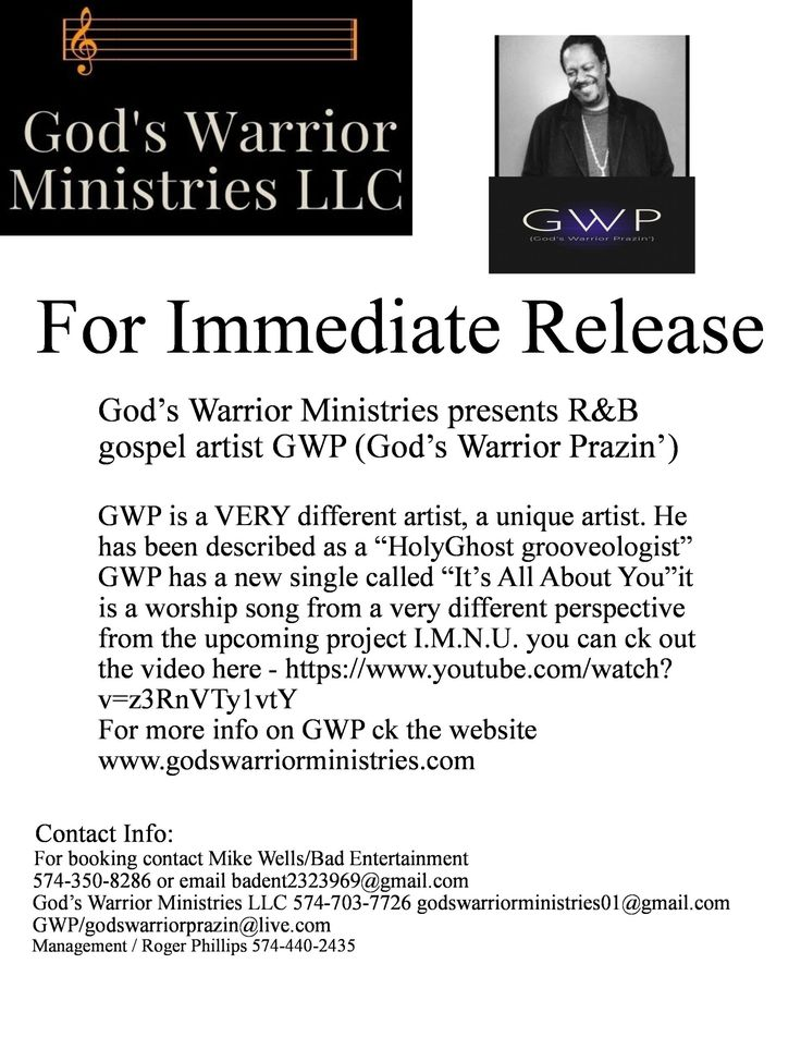 God's Warrior Ministries presents gospel artist GWP (God's Warrior Prazin')
